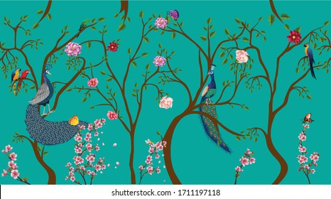 Vintage chinoiserie floral rose tree, plant, bird seamless border turquoise background. Exotic oriental wallpaper