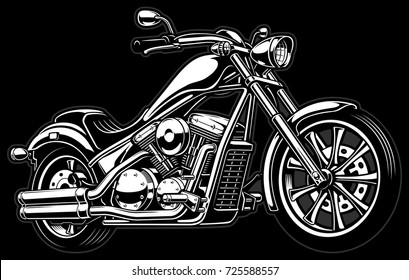Vintage chopper illustration.VERSION ON DARK BACKGROUND. Text is on the separate layer.