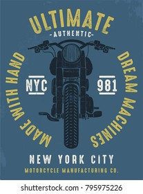 vintage chopper motorcycle illustration, vector, typography