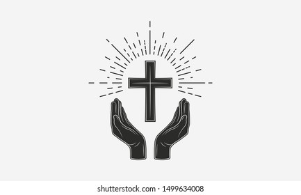 Vintage Christian logo. Hands with catholic cross and sunburst. Vector illustration