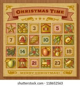Vintage Christmas Advent Calendar. Vector