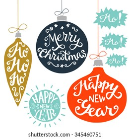 Vintage Christmas baubles with Merry Christmas, Ho Ho Ho! and Happy New Year hand lettering. Set of holiday hand drawn card elements.