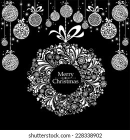 Vintage Christmas card. Celebration black background with Christmas wreath, Christmas balls and place for your text. Vector Illustration