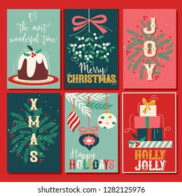 Vintage Christmas Card Collection, set of 6. Fully editable, scalable vector illustration.
