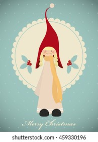 Vintage christmas card with cute girl gnome