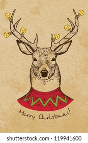 Vintage Christmas card with deer