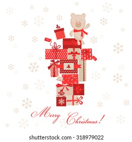 Vintage Christmas Card with Gifts and Bear in vector
