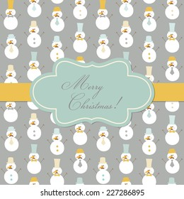 Vintage Christmas Card - Retro Snowman with Mustache and Hats - in vector