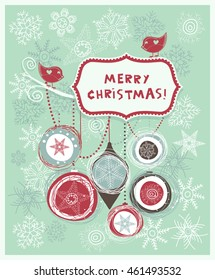Vintage Christmas card with snowflakes, balls and frame. Vector  illustration hand drawn