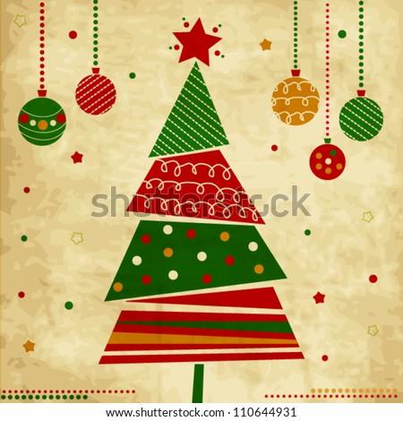 vintage christmas card tree ornaments xmas stock vector royalty