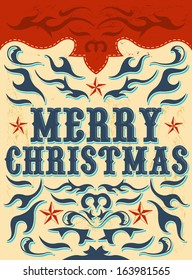 Vintage Christmas Card - western style - Vector. Grunge effects can be easily removed