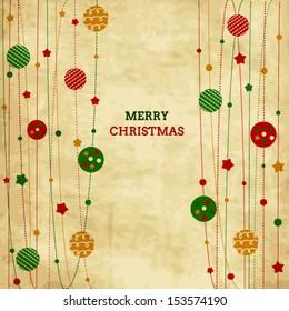 Vintage Christmas card with xmas balls and stars