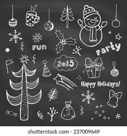Vintage Christmas Chalkboard. Funny Hand Drawn Vector Set.