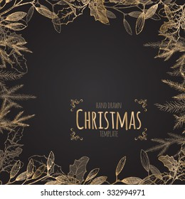 Vintage Christmas decorative template with mistletoe and pine branches on black background. Great for greeting cards and holiday design.