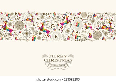 Vintage Christmas elements, reindeer jumping with text seamless pattern background. EPS10 vector file organized in layers for easy editing.