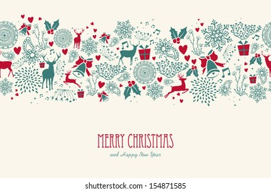 vintage christmas elements reindeer with text seamless pattern background eps10 vector file organized in