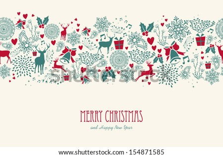Vintage Christmas elements, reindeer with text seamless pattern background. EPS10 vector file organized in layers for easy editing.