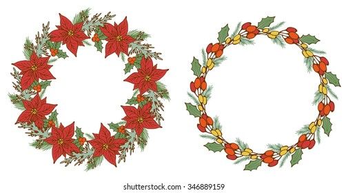 Vintage christmas floral wreath set. Holiday frame with place for text.