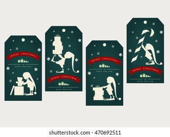 Vintage christmas gift tags with cute elf