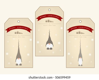 Vintage christmas gift tags with cute gnomes