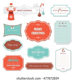 Vintage Christmas and Happy New Year frames and banners. Wish list template. Decorative labels and badges isolated on white.