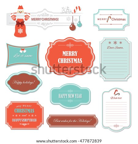 vintage christmas and happy new year frames and banners wish list template decorative labels