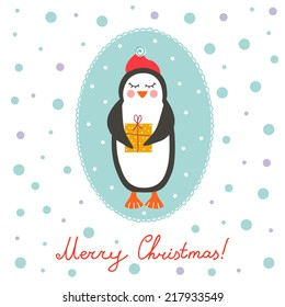 Vintage Christmas illustration with cute penguin and gifts. Perfect for Christmas cards.