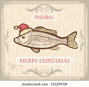 Vintage Christmas image of Fishing with fish in Santa hat .Vector drawing card for text