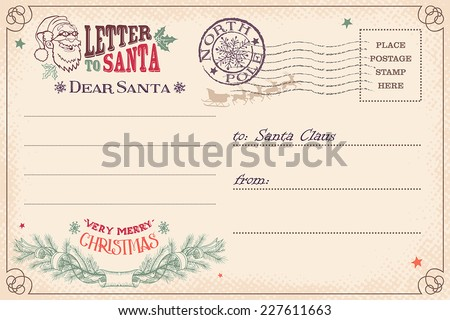 vintage christmas letter santa claus wish stock vector royalty free