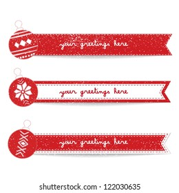 Vintage Christmas and New Year Ribbon' Banners Set