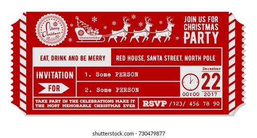 Vintage christmas party invitation design template. Vector Illustration