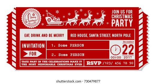 Vintage christmas party invitation design template. Vector Illustration