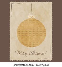 Vintage Christmas postcard with christmas  ball.