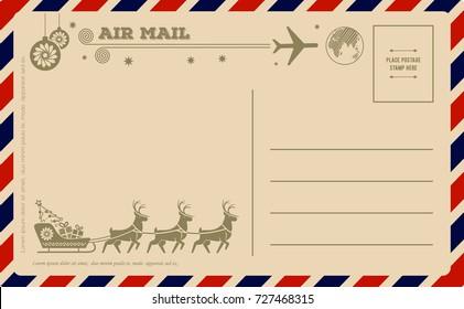 Vintage Christmas Postcard. Vector illustration.