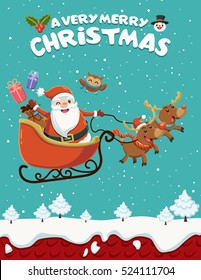 Vintage Christmas poster design with owl Santa Claus with sleigh and reindeer characters.