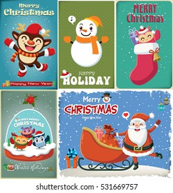 Vintage Christmas poster design with reindeer, Santa Claus, snowman, owl characters.
