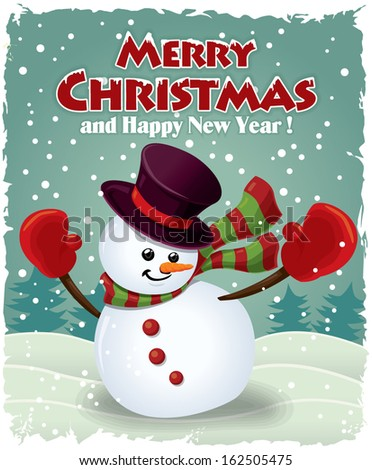 Vintage Christmas Poster Design Snowman Stock Vector Royalty Free