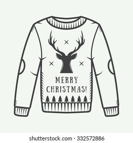Vintage Christmas sweater with deer, trees and stars. Vector illustration