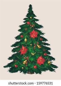 Vintage christmas tree art. Greeting card \ poster \ banner. Vector illustration.