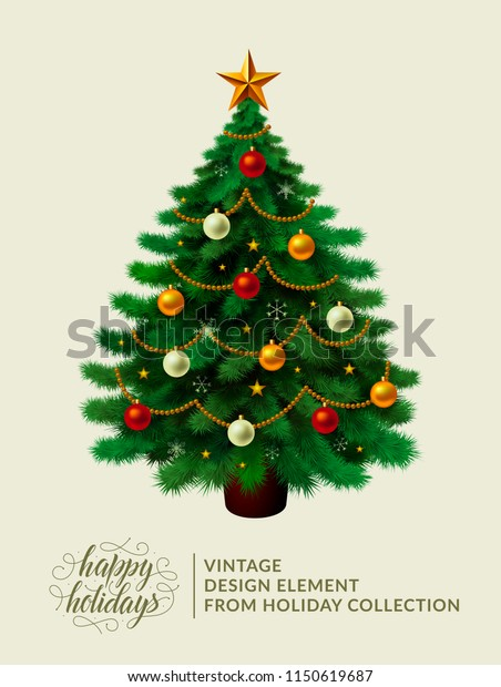 Vintage Christmas Tree Xmas Decorations Ornaments Stock Vector