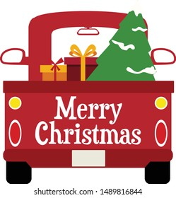 Vintage Christmas Truck - Christmas truck with presents vector design