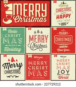Vintage Christmas Typographic Background Set / Merry Christmas And Happy New Year