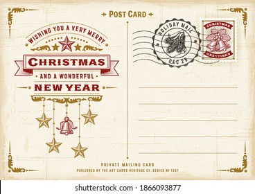 Vintage Christmas Typography Postcard. Editable EPS10 vector illustration in retro woodcut style with gradient mesh and transparency.