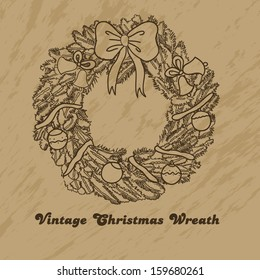 Vintage christmas wreath for your design
