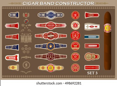 Vintage cigar band set. Design elements