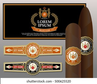 Vintage cigar band set. Design elements