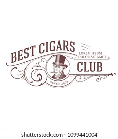 Vintage Cigar Club Logo. Monkey in Top Hat smoking Cigar