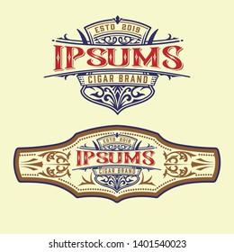 Vintage cigar label and logo template