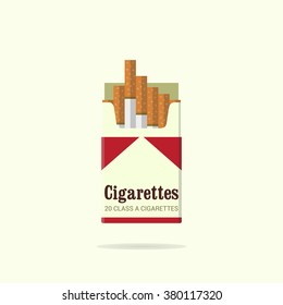 Vintage cigarettes pack. Cigarettes pack icon. Flat design. Red and white pack. Smoke problem. No smoking. Vector illustration