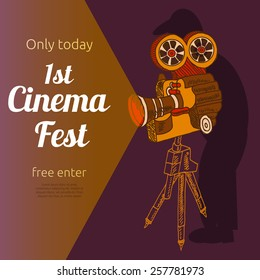 Vintage cinema 1st festival free entrance event billposter advertisement placard with old projector pictogram abstract vector illustration